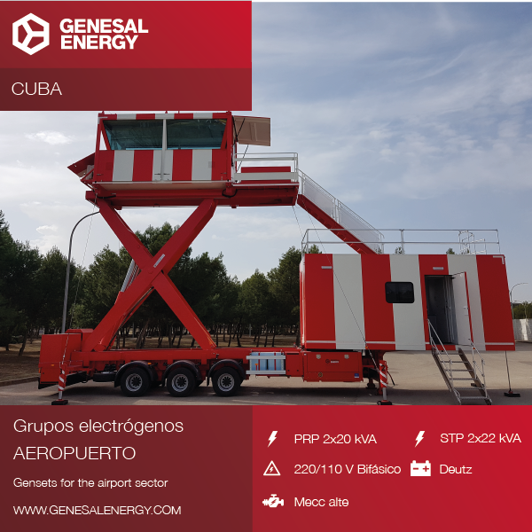 Two emergency gensets to guarantee reliability of an air traffic control tower in Cuba
