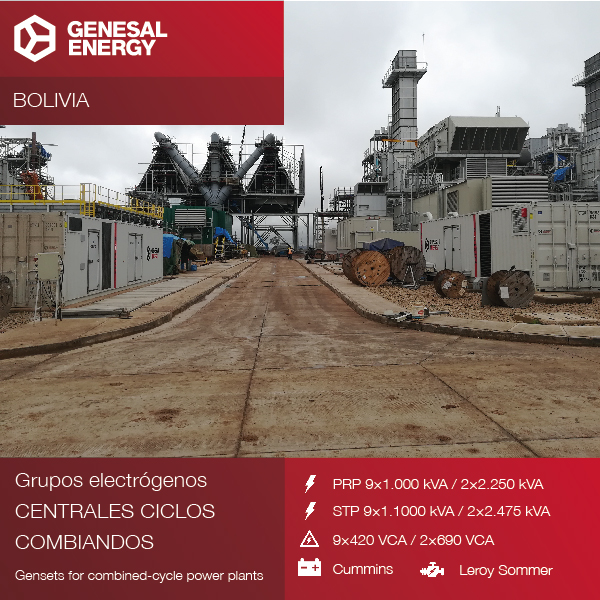 We designed 11 gensets for three combined-cycle power plants in Bolivia that will increase the electric power in the country by 50%