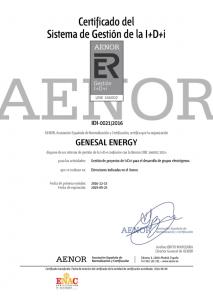 Certificado del Sistema de Gestión de la i+D+i en gestión de proyectos de I+D+i para el desarrollo de grupos electrógenos.