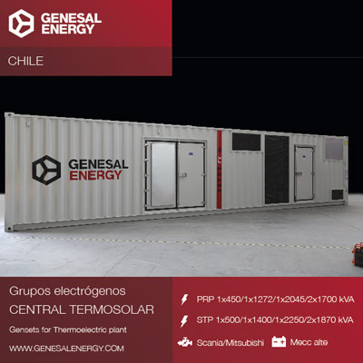 Genesal Energy supplies emergency power to Cerro Dominador, the greatest solar complex in Latin America, located in the desert of Atacama