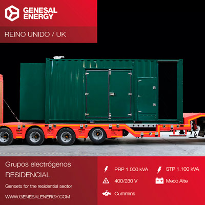 1000-1100 kVA generator set prepared to operate in low sound conditions
