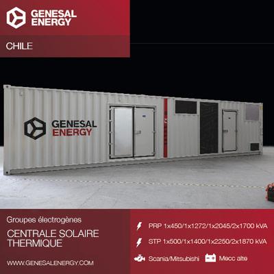 Genesal Energy fournit une alimentation de secours à Cerro Dominador, le plus grand complexe solaire d'Amérique latine situé dans le désert d'Atacama