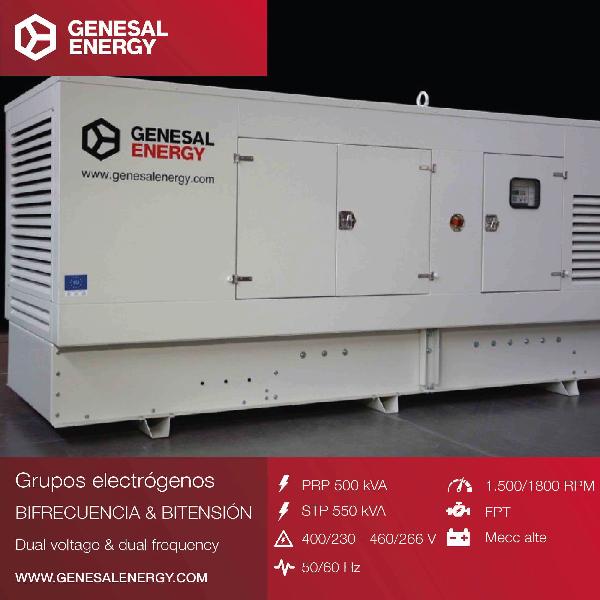 Grupo electrógeno Genesal Energy, bitensión y bifrecuencia: adaptado para energía de emergencia y banco de pruebas con dos alimentaciones independientes.