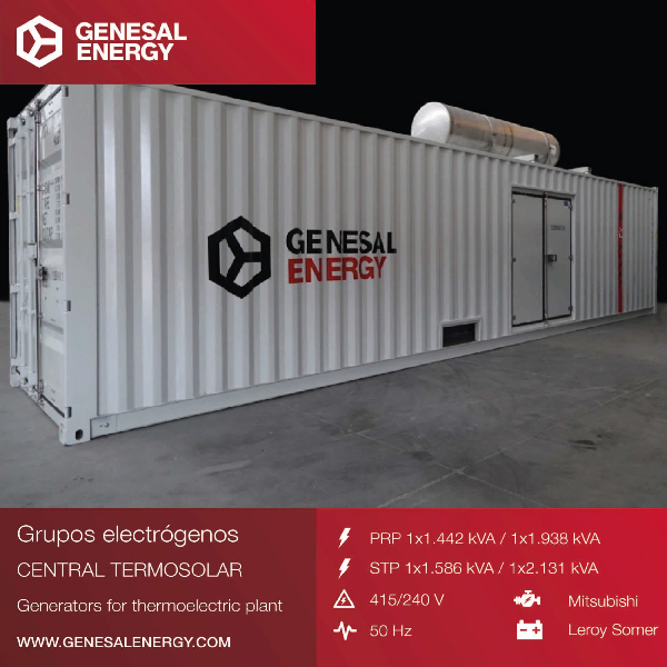 Gensets for a solar power plant in South Africa that will supply electricity to 150,000 homes