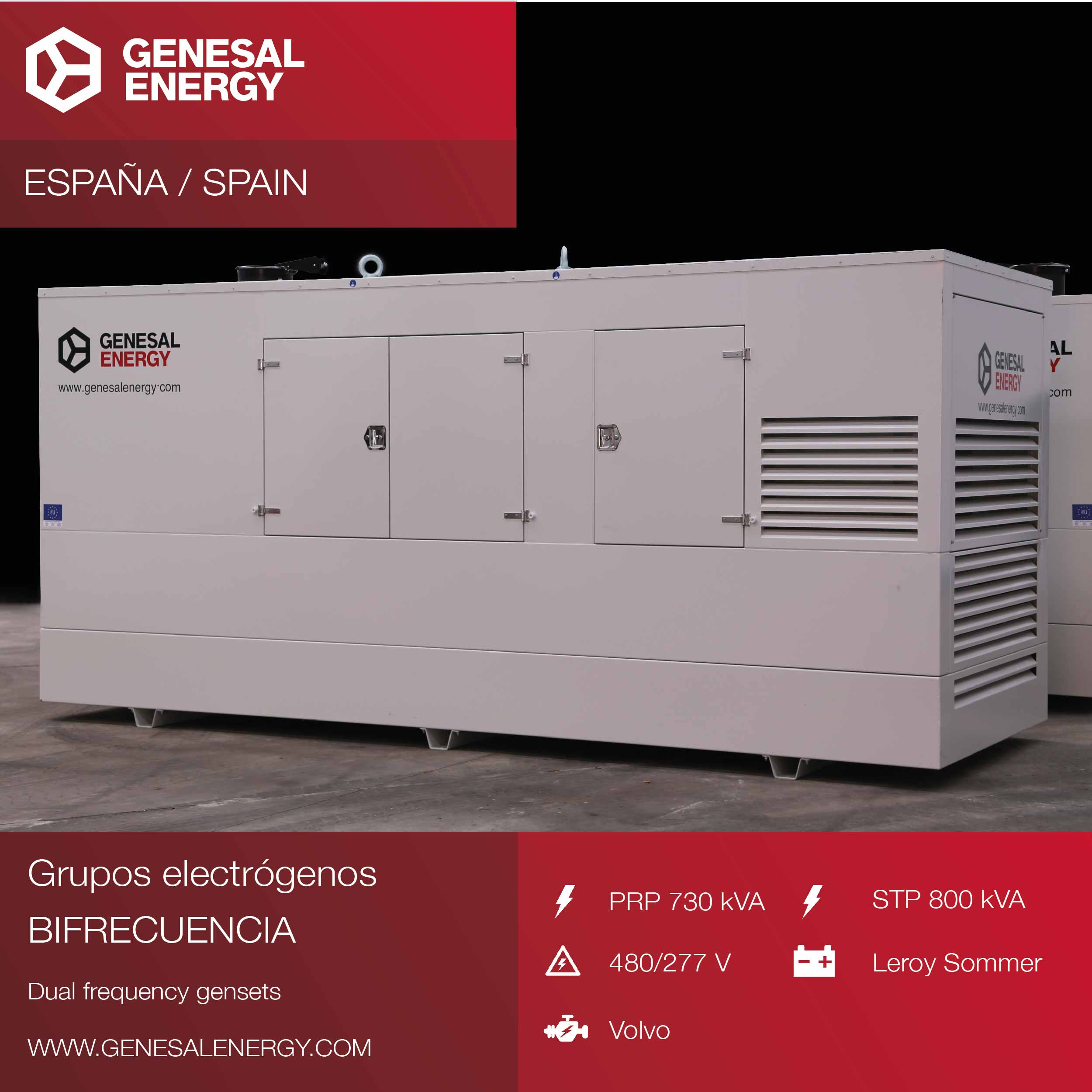 Dual frequency and dual voltage gensets for an international construction company