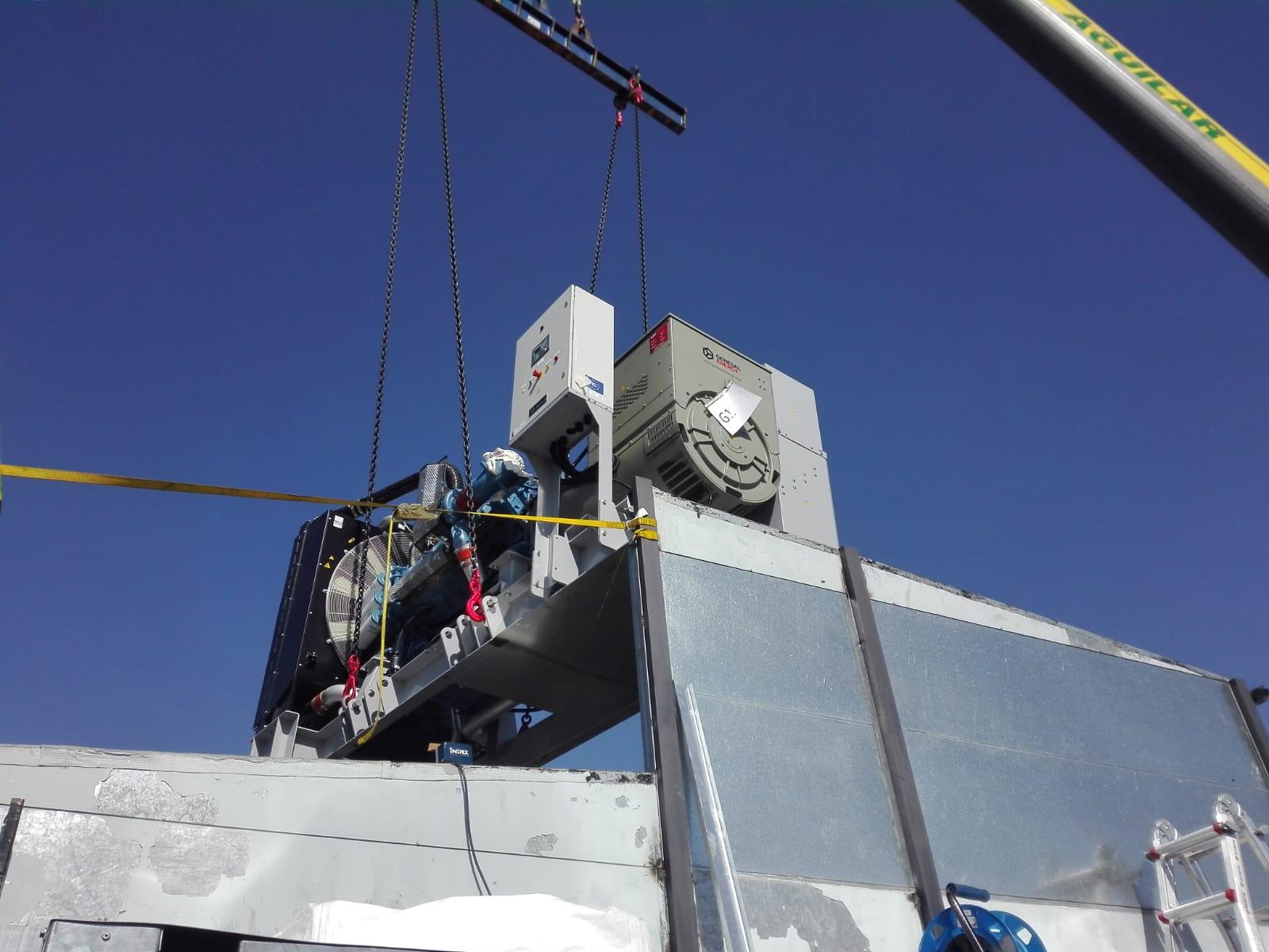 Transporte y montaje de un grupo electrógeno para generar energía de emergencia en un data center de Madrid