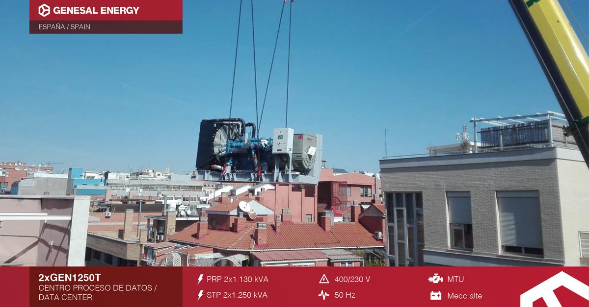 Grupo electrógeno para generar energía de emergencia en un data center de Madrid
