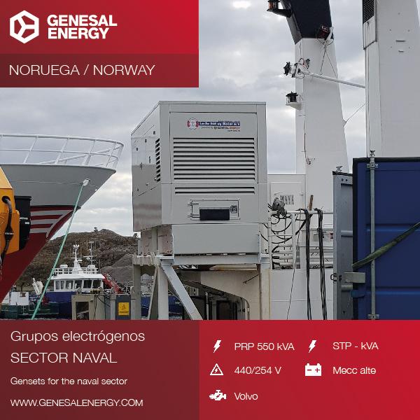 Grupo electrógeno especial con motor marino Genesal Energy para un barco en Noruega