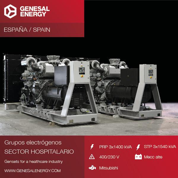 Genesal Energy se consolida en el sector sanitario con grupos electrógenos de alta precisión para grandes hospitales