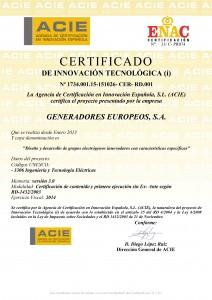 Genesal energy recognized with the certificate of technological certificado de innovacin tecnolgica xflitez Images