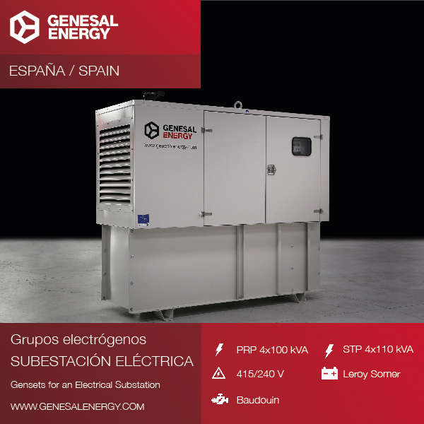Grupos electrógenos especiales Genesal Energy para subestaciones eléctricas de Zaragoza