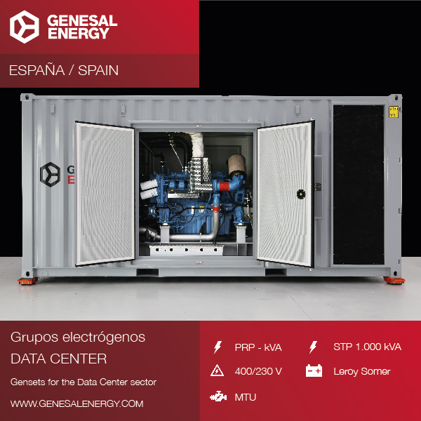 Suministro, entrega e instalación de un grupo electrógeno de 1.000 kVA para un CPD (centro de proceso de datos) en Barcelona