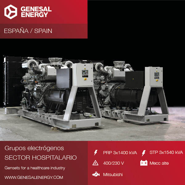 Genesal Energy se consolida en el sector sanitario con grupos electrógenos de alta precisión para grandes hospitales en Cuenca y Guadalajara