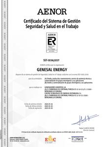 45001:2018 Certificado del Sistema de Gestión de Seguridad y Salud en el Trabajo.