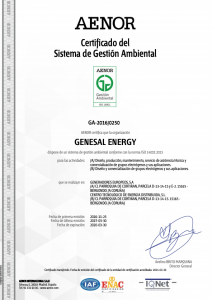 Certificado del sistema de gestión ambiental - ISO 14001 - Genesal Energy