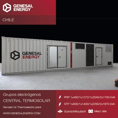 Genesal Energy suministra energía de emergencia a Cerro Dominador, el mayor complejo solar de Latinoamérica situado en el desierto de Atacama