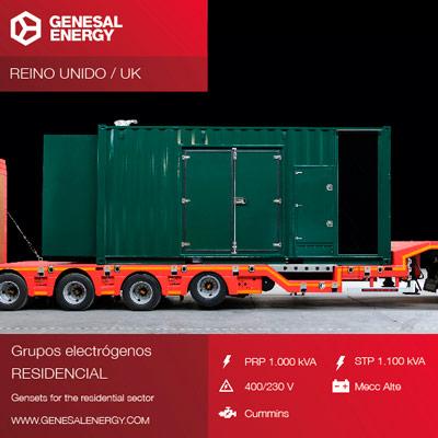Grupo electrógeno de 1000-1100 kVA preparado para trabajar en condiciones de baja rumorosidad